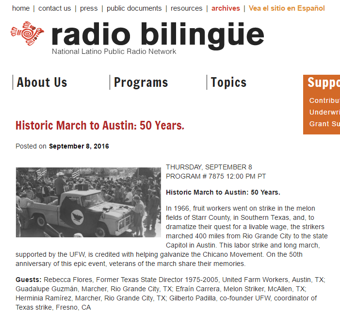 Radio Bilingüe: Historic March to Austin